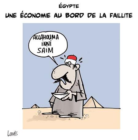 Egypte: Une économie au bord de la faillite - Dessins et Caricatures, Lounis Le jour d'Algérie - Gagdz.com