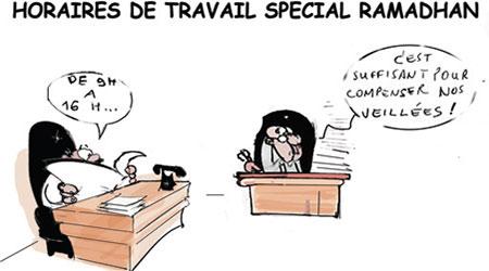 Horaires de travail spécial ramadhan - Dessins et Caricatures, Jony-Mar - La voix de l'Oranie - Gagdz.com