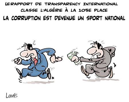 La corruption est devenue un sport national - Dessins et Caricatures, Lounis Le jour d'Algérie - Gagdz.com