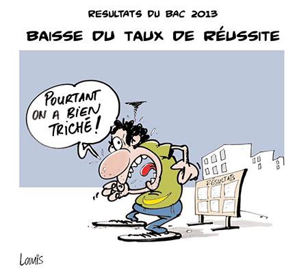 Résultats du bac 2013: Baisse du taux de réussite - Dessins et Caricatures, Lounis Le jour d'Algérie - Gagdz.com