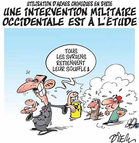 Utilisation d'armes chimiques en SYrie: Une intervention militaire occidentale est à l'étude - Dessins et Caricatures, Dilem - Liberté - Gagdz.com