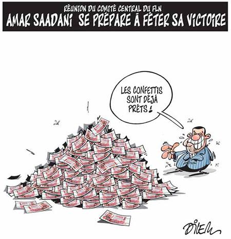 Amar Saadani se prépare à fêter sa victoire - Dessins et Caricatures, Dilem - Liberté - Gagdz.com