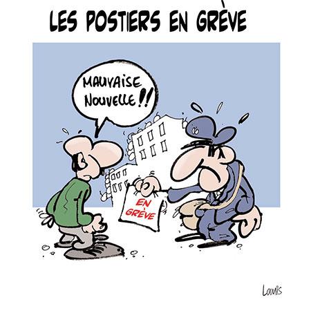 Les postiers en grève - Dessins et Caricatures, Lounis Le jour d'Algérie - Gagdz.com