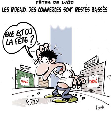 Fête de l'aïd, les rideaux des commerces sont restés baissés - Dessins et Caricatures, Lounis Le jour d'Algérie - Gagdz.com