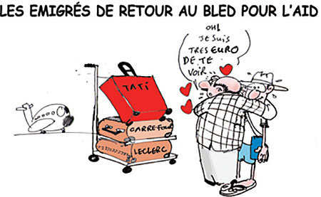 Les émigrés de retours au bled pour l'aïd - Dessins et Caricatures, Jony-Mar - La voix de l'Oranie - Gagdz.com