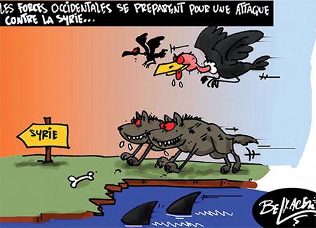 Les forces occidentales se préparent pour une attaque contre la Syrie - Belkacem - Le Courrier d'Algérie, Dessins et Caricatures - Gagdz.com