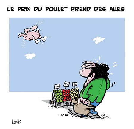 Le prix du poulet pred des ailes - Dessins et Caricatures, Lounis Le jour d'Algérie - Gagdz.com