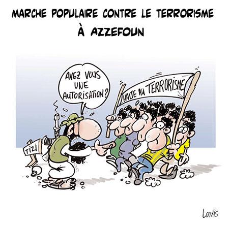 Marche populaire contre le terrorisme à Azzefoun
