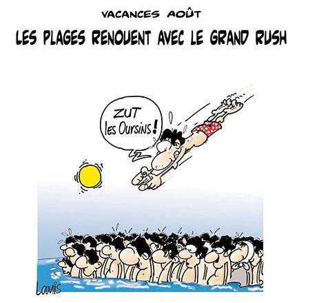 Les plages renouent avec le grand rush - Dessins et Caricatures, Lounis Le jour d'Algérie - Gagdz.com