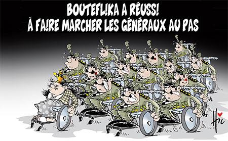 Bouteflika a réussi à faire marcher les généraux au pas - Dessins et Caricatures, Le Hic - El Watan - Gagdz.com