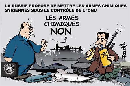 La Russie propose de mettre les armes chimiques syriennes sous le contrôle de l'onu - Dessins et Caricatures, Ghir Hak - Les Débats - Gagdz.com