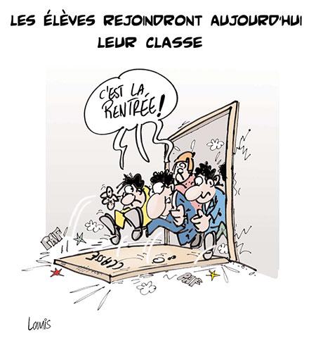 Les élèves rejoindront aujourd'hui leur classe - Dessins et Caricatures, Lounis Le jour d'Algérie - Gagdz.com
