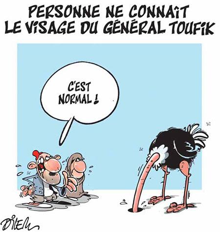Personne ne connait le visage du général toufik - Dessins et Caricatures, Dilem - Liberté - Gagdz.com