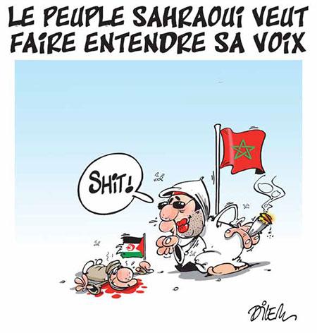 Le peuple sahraoui veut faire entendre sa voix - Dessins et Caricatures, Dilem - Liberté - Gagdz.com