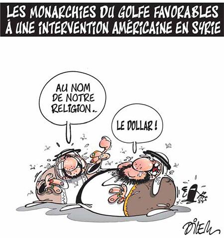 Les monarchies du golfe favorables à une intervention américaine en Syrie - Dessins et Caricatures, Dilem - Liberté - Gagdz.com