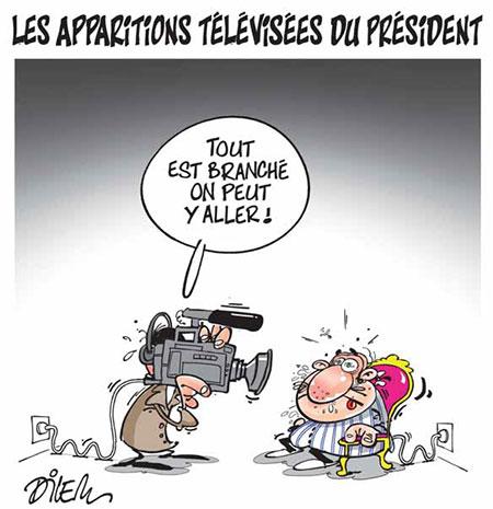 Les apparitions télévisées du président - Dessins et Caricatures, Dilem - Liberté - Gagdz.com