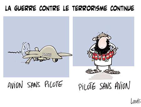 La guerre contre le terrorisme continue - Dessins et Caricatures, Lounis Le jour d'Algérie - Gagdz.com