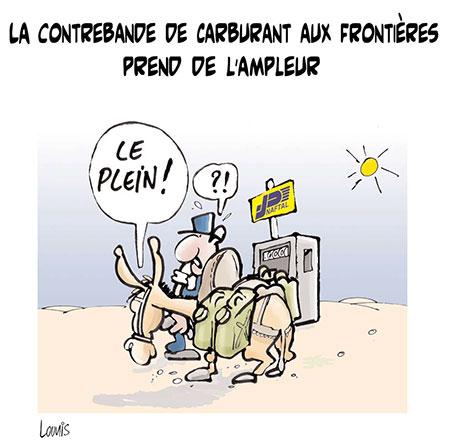 La contrebande de carburant aux frontières prend de l'ampleur - Dessins et Caricatures, Lounis Le jour d'Algérie - Gagdz.com