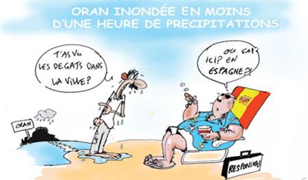 Oran innondée en moins d'une heure de précipitations - Dessins et Caricatures, Jony-Mar - La voix de l'Oranie - Gagdz.com