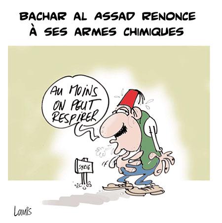 Bachar Al Assad renonce à ses armes chimiques - Dessins et Caricatures, Lounis Le jour d'Algérie - Gagdz.com