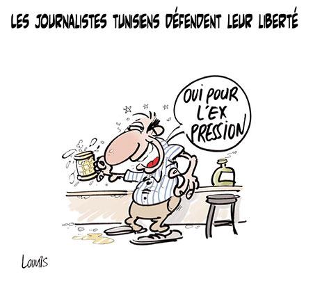 Les journalistes tunisiens défendent leur liberté - Dessins et Caricatures, Jony-Mar - La voix de l'Oranie - Gagdz.com