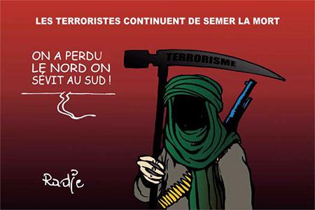 Les terroristes continuent de semer la mort - Dessins et Caricatures, Ghir Hak - Les Débats - Gagdz.com