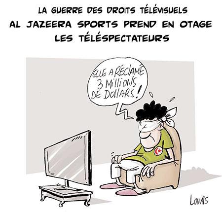 Al Jazeera sports prend en otage les téléspectateurs - Dessins et Caricatures, Lounis Le jour d'Algérie - Gagdz.com