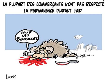 La plupart des commerçants n'ont pas respecté la permanence durant l'aid - Dessins et Caricatures, Lounis Le jour d'Algérie - Gagdz.com