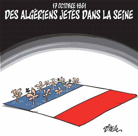 Des Algériens jetés dans la seine - Dessins et Caricatures, Dilem - Liberté - Gagdz.com