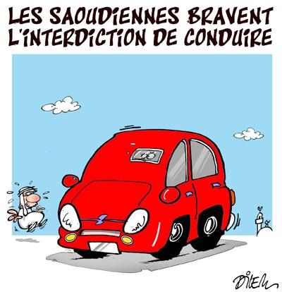 Les saoudiennes bravent l'interdiction de conduire - Dessins et Caricatures, Dilem - TV5 - Gagdz.com