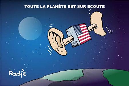 Toute la planète est sur écoute - Dessins et Caricatures, Ghir Hak - Les Débats - Gagdz.com