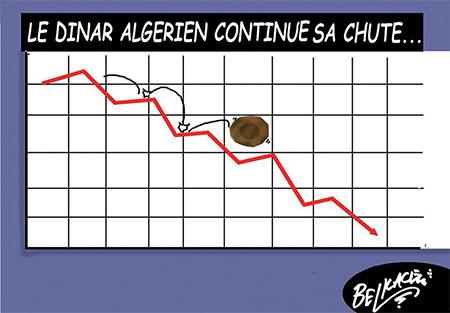 Le dinar algérien continue sa chute - Belkacem - Le Courrier d'Algérie, Dessins et Caricatures - Gagdz.com