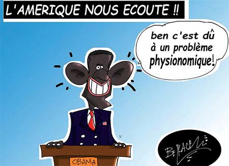 L'Amérique nous écoute - Belkacem - Le Courrier d'Algérie, Dessins et Caricatures - Gagdz.com