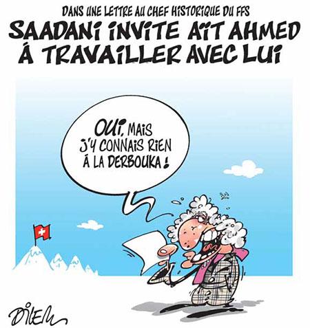 Saadani invite aït Ahmed à travailler avec lui - Dessins et Caricatures, Dilem - Liberté - Gagdz.com