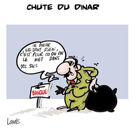 Chute du dinar - Dessins et Caricatures, Lounis Le jour d'Algérie - Gagdz.com