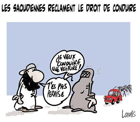 Les Saoudiènnes réclament le droit de conduire - Dessins et Caricatures, Lounis Le jour d'Algérie - Gagdz.com