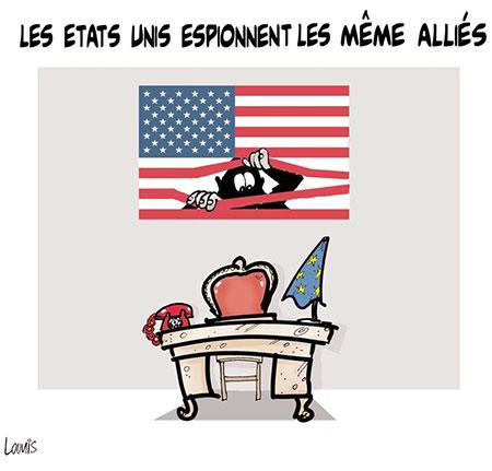Les Etats Unis espionnent même les alliés - Dessins et Caricatures, Lounis Le jour d'Algérie - Gagdz.com