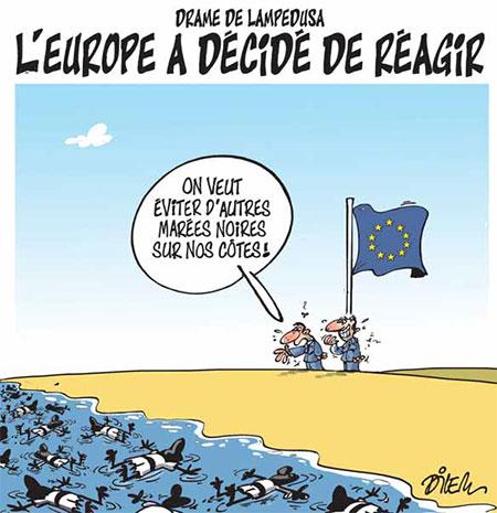 Drame de Lampedusa: L'Europe a décidé de réagir - Dessins et Caricatures, Dilem - Liberté - Gagdz.com