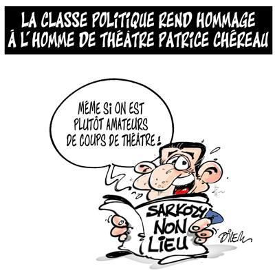 La classe politique rend hommage à l'homme de théâtre Patrice Chéreau - Dessins et Caricatures, Dilem - TV5 - Gagdz.com