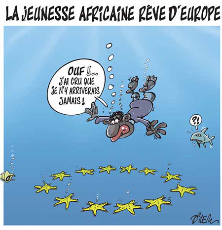 La jeunesse africaine rêve d'europe - Dessins et Caricatures, Dilem - Liberté - Gagdz.com