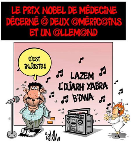 Le prix nobel de médecine décerné à deux américains et un allemanf - Dessins et Caricatures, Islem - Le Temps d'Algérie - Gagdz.com