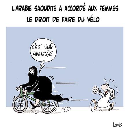 L'Arabie Saoudite a accordé aux femmes les droit de faire du vélo - Dessins et Caricatures, Lounis Le jour d'Algérie - Gagdz.com