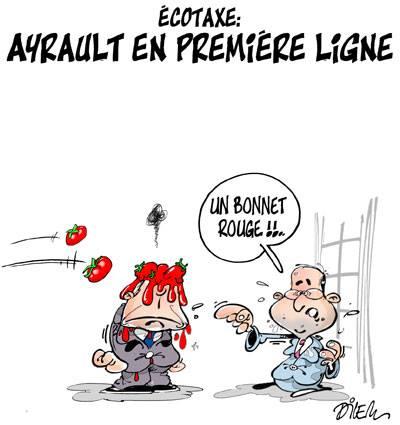 Écotaxe : Ayrault en première ligne - Dessins et Caricatures, Dilem - TV5 - Gagdz.com