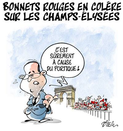 Bonnets rouges en colère sur les Champs-Élysées  - Dessins et Caricatures, Dilem - TV5 - Gagdz.com