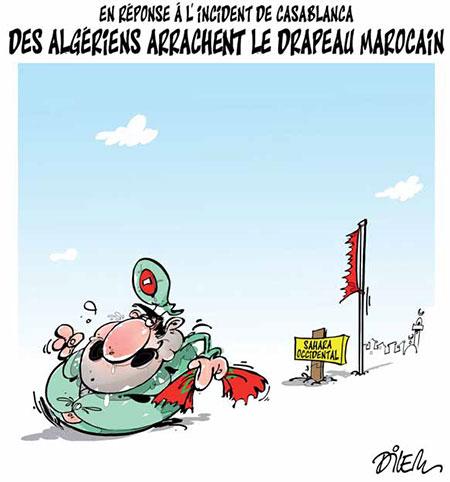 Des Algériens arrachent le drapeau marocain