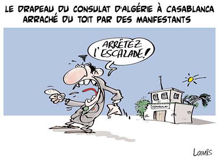 Le drapeau du consulat d'Algérie à Casablanca arraché - Lounis Le jour d'Algérie - Gagdz.com