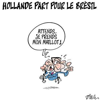 Hollande part pour le Brésil - Dilem - TV5 - Gagdz.com