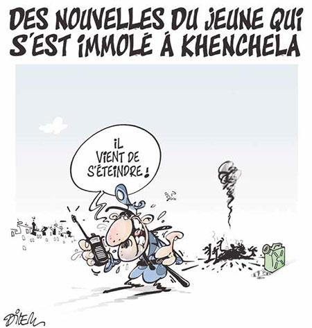 Des nouvelles du jeune qui s'est immolé à Khenchela - Dilem - Liberté - Gagdz.com
