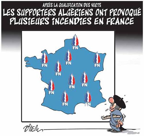 Après la qualification des verts: Les supporters algériens ont provoqué plusieurs incidents en France - Dilem - Liberté - Gagdz.com