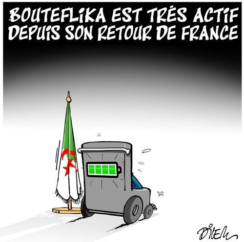 Bouteflika est très actif depuis sont retour de France - Dilem - Liberté - Gagdz.com